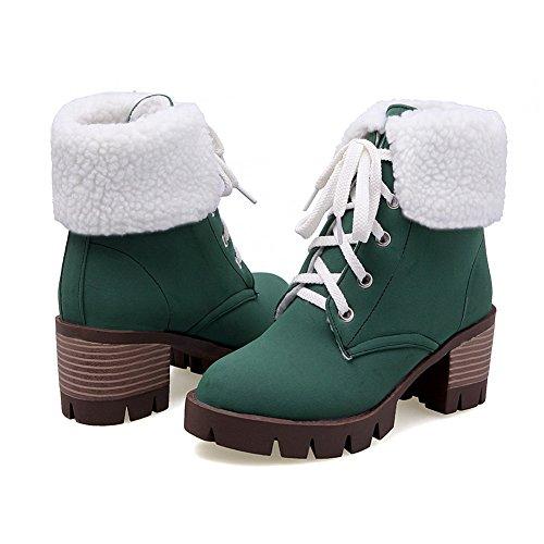 BalaMasa Womens Bandage Chunky Heels Platform Round Toe Imitated Suede Boots Green mtidI20d