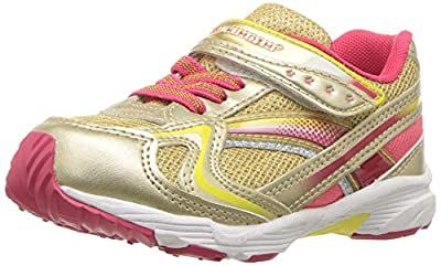 TSUKIHOSHI Girls' Glitz Sneaker, Gold/Coral, 8 M US Toddler
