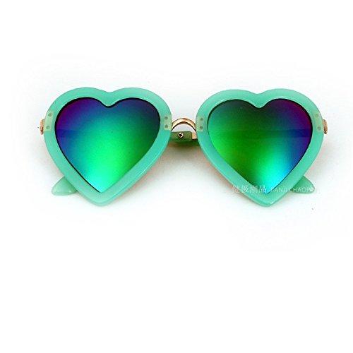 Gafas de sol para niños MinegRong Niñas Gafas de sol en forma de corazón coloridas Niños Espejo de moda linda Gafas para niños con protección UV, Rojo
