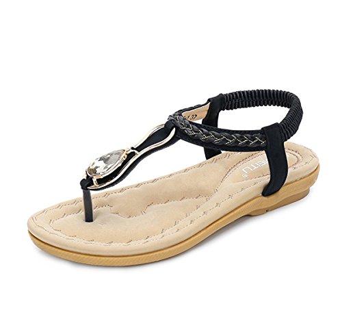 Zapatillas de Moda Sandalias | Sandalias de mujer Presidente clip toe sandalias | señoras zapatos planos | Bohemia sandalias mujer clip y sandalias de playa Black