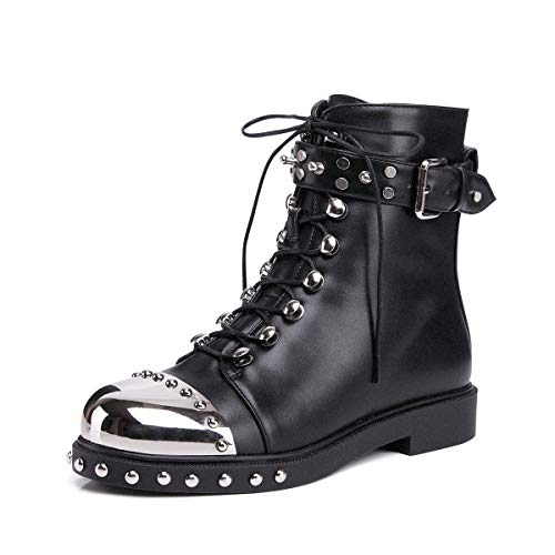 onlymaker Women Martin Boots Metal Round Toe Motorcycle Metallic Rivet Studded Lace Up Buckle Strap Faux Fur Lining Inside Size 8 US