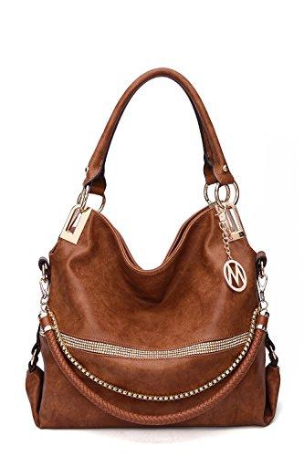 2 IN 1 Women's Twister Large New Designer Handbags Crossbody Shoulder Bag (Cognac Brown-Twister) (Designer Handbags New)