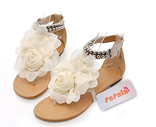 New Summer Fashion Flower Beaded Women's T Strap Sweet Flats Sandals Shoes (US 7.5)