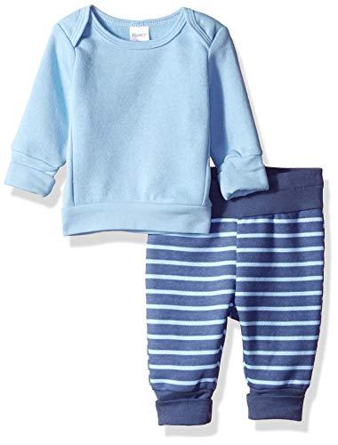 Hanes Ultimate Baby Flexy Adjustable Fit Jogger with Sweatshirt Set, Light Blue Stripe, 6-12 - Infant Blue Sweatshirt Light