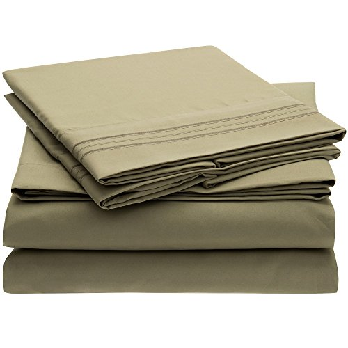 Harmony Linens Bed Sheet Set - 1800 Double Brushed Microfiber Bedding - Deep Pocket, Hypoallergenic - Wrinkle, Fade, Stain Resistant Sheets - 4 Piece (Queen, Olive Green)