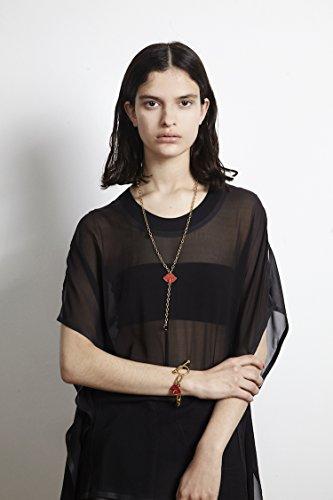 Maria Francesca Pepe Collier Laiton Ronde Autre Noir Femme 70cm