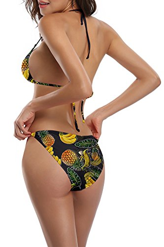 del sexy pezzi Strappy floreale due Halter Chicolife Up Bikini Swimwear triangolo bagno brasiliano Pineapple bikini bagno da da Push costume costume Womens perizoma Backless w717tx