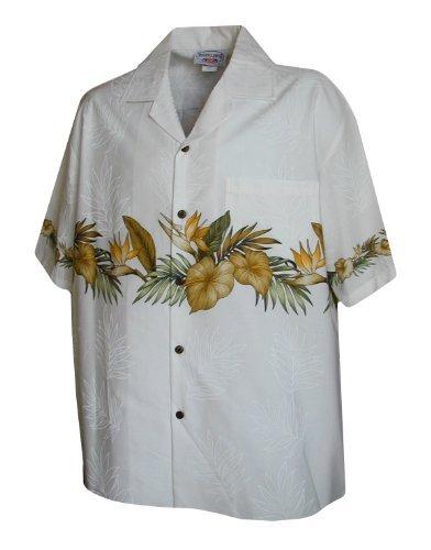 Anthurium Bird of Paradise Chest Band Shirt in White - 4X (Island Paradise Hawaiian Shirt)