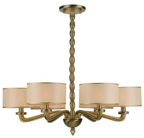 9506-AB Luxo 6LT Chandelier, Antique Brass Finish and Light Gold Semi-Sheer Shades