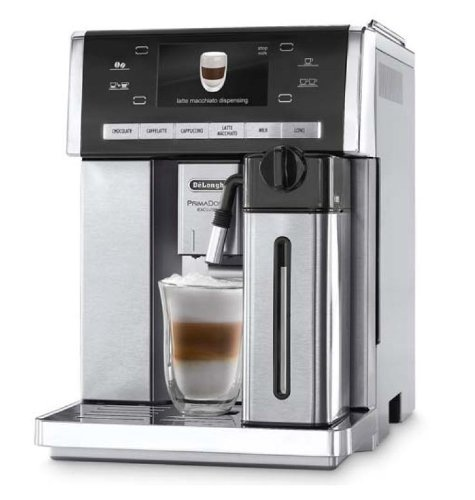 Delonghi Prima Donna Exclusive Super Automatic Espresso Machine with Thermal Milk Carafe, Hot Chocolate Maker and 4.3' Color Display Stainless Steel, ESAM6900