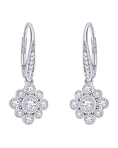 Round Cut Diamond Flower Vintage-Style Drop Earrings in 14K Solid Gold (0.5 Cttw) by Wishrocks