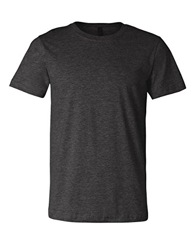 [Canvas mens Unisex Jersey Short-Sleeve T-Shirt(3001C)-DRK GREY HEATHER-L] (Co Fitted T-shirt)