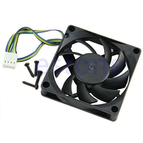 Kofun 70mm x 15mm Brushless Fan DC 12V 4 Pin 9 Blade Cooling Cooler Blue Eagle 7Cm Black Leaf Cooling Fan (with 4 Screws)