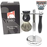 GBS 3 Piece Deluxe Shaving Set. 5 Blade Fusion Compatible Razor Black Manual Handle & Black Pure Badger Bristle Shave Brush & Stainless Brush and Razor Stand Holder. Ultimate Complete Wet Shave Kit