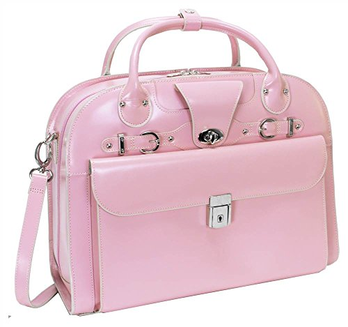 McKleinUSA ROSEVILLE 96649 Pink Leather Fly-Through Checkpoint-Friendly Detachable-Wheeled Ladies' (Pink Italian Briefcase)