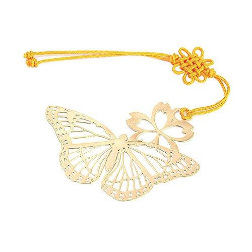 Parkssi 24K Golden Macrame Tassel Flower Butterfly Bookmark