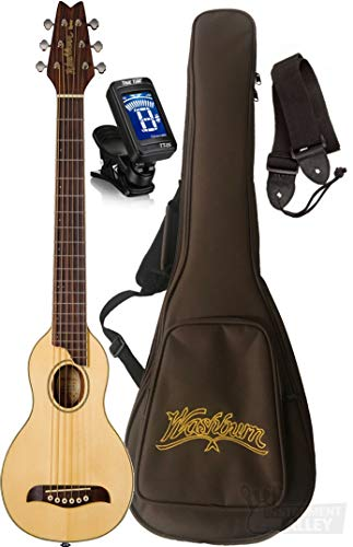 Washburn RO10SK-A Rover Spruce Top Acoustic Travel Guitar with Bag (Natural)