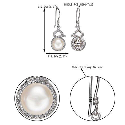 EVER FAITH® - Elégant - Boucle d'Oreilles Argent 925/1000 Zircon 9MM Perle Naturelle Douce Infini Clair