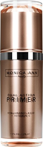 Dual-Action Face Primer (Vitamin C+ Hyaluronic Acid) , Monica Ann Beauty; Foundation Primer that will Hydrate, Mattify, Brighten, and Minimize Pores for a Healthy Natural Glow! (Best Primer For Dry Combination Skin)