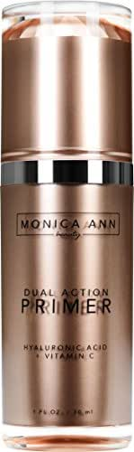 Dual-Action Face Primer (Vitamin C+ Hyaluronic Acid) , Monica Ann Beauty; Foundation Primer that will Hydrate, Mattify, Brighten, and Minimize Pores for a Healthy Natural Glow!