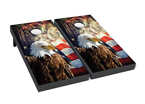 BackYardGamesUSA Cornhole Boards BEANBAG TOSS Game w Bags Patriotic US American Eagle Flag 224 ()