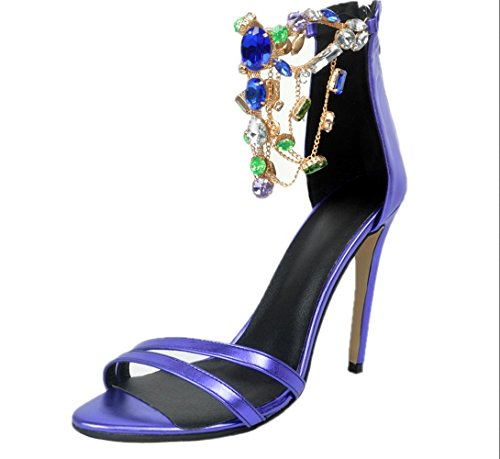 YCMDM Women's Sandals Violet Stiletto Heel Nightclub Party Evening Office Career Fashion Shoes , 35 , violet