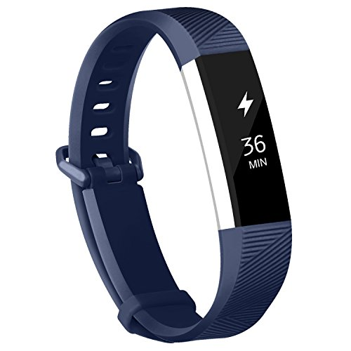 Adepoy Fitbit Alta Bands and Alta HR Bands, Newest Adjustable Replacement Wristband with Secure Metal Clasp for Fitbit Alta HR and Fitbit Alta Navy Blue Leather Band