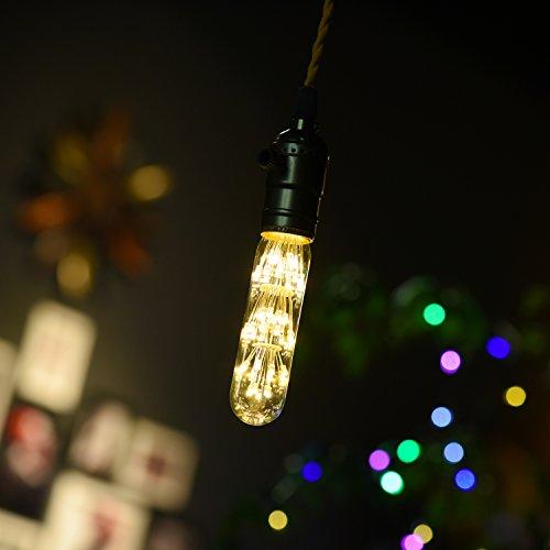 WEANAS Vintage LED Light Bulb, E26/E27 Medium Base 1.6W AC 110V Warm White Tubular Bulb Decor Light Bulb, Energy Saving Starry Decorative LED Light Bulbs for Holiday Indoor Party (1 Pack)
