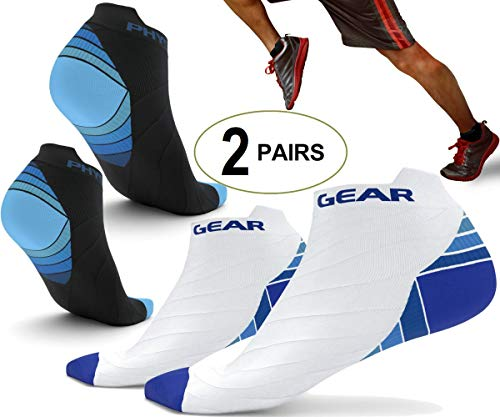 26d42339fe Physix Gear Sport 2 Pairs Running Socks with Plantar Fasciitis Support for  Men & Women - Best Compression Socks - No Show Low Cut Ankle Socks Boost  Stamina ...