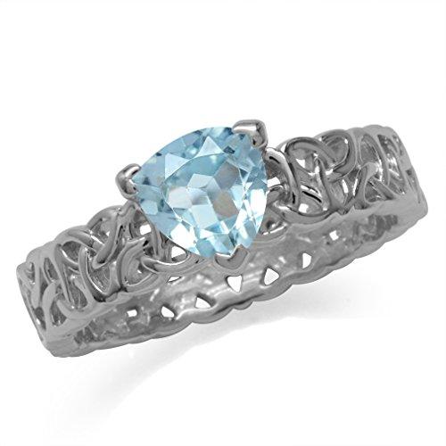 (1.44ct. Genuine Trillion Shape Blue Topaz 925 Sterling Silver Triquetra Celtic Knot Eternity Ring Size 6)