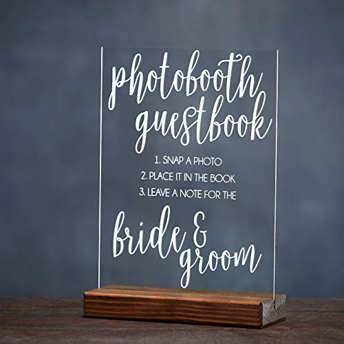 Photo Booth Wedding Guest Book Acrylic Sign Unique Idea for Bride and Groom]()