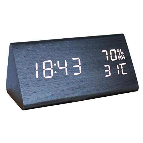 Clock Black Triangle (Digital Alarm Clock,LED Triangle Electronic Temperature and Humidity Table Home Bedroom Travel Wooden Clock with Adjustable Brightness Voice Control (Black Wooden White Light))