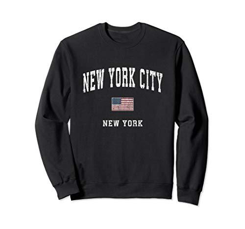 New York City New York NY Vintage American Flag Sports Sweatshirt