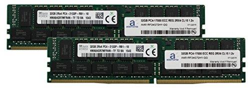 Hynix Original 64GB (2x32GB) Server Memory Upgrade for Lenovo Tower Server x3500 M5 DDR4 2133MHz PC4-17000 ECC Registered Chip 2Rx4 CL15 1.2V DRAM Hynix Original