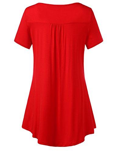 Manche Tops Courte Chemisier T Rouge Shirt Femme Blouse Boutons Col V DJT Lache nfPASwq5x