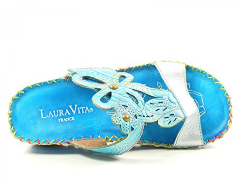 Laura Vita Mujeres Zapatos abiertos verde, (weiß-kombi) BRYAN 15 Türkis