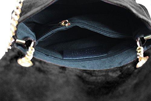 bordado piel cadena FERETI bandolera Bolso etnico negro dorado con w0zXEzqx