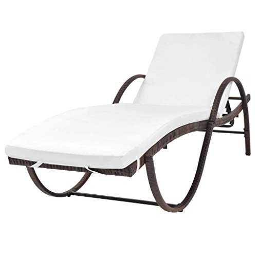 Clever Market Outdoor Furniture Patio Pool Lounge Chair Chaise Wicker Solid Daybed with Cushion Poly Rattan Brown