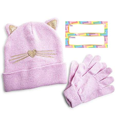 Stocking Season (Children's Winter Beanie Hat and Gloves Set, Available in 5 Different Sets, Winter Season Gift Set, Cute Animal Head Wear, (Kitty Kat))