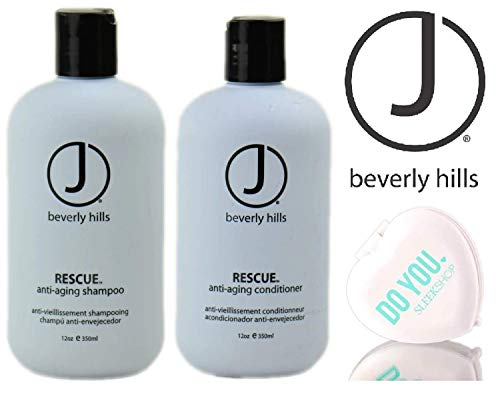 J Beverly Hills RESCUE Anti-Aging SHAMPOO & CONDITIONER Duo Set (with Sleek Compact Mirror) (12 oz / 350 ml DUO KIT)