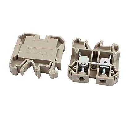 Amazon.com: eDealMax 2pcs SEK-16N 660V 76A del montaje del carril 16mm2 Cable Terminal sin tornillo Bloque de Color caqui: Electronics