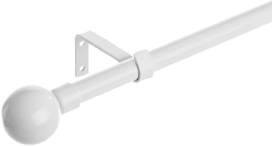 Barra de Cortina Extensible de Metal Blanca Minimalista para Dormitorio de 120-210 cm Vitta - LOLAhome