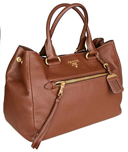 Prada Women's BN2793 UWL F0BW5 Brown Leather Shoulder Bag
