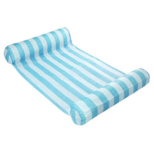 EA-STONE Multicolor Stripe Floating Sleeping Bed Water Pool Float, Sun Lounger Chair Float Air Inflatable Mattress Folding Floating Pad PVC Swimming Pool Accessories ,Light Blue