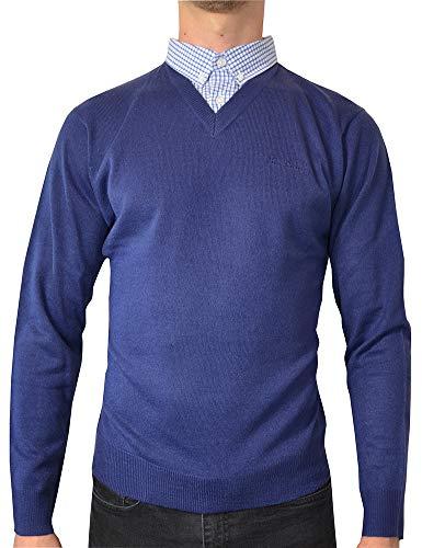 (Pierre Cardin Mens New Season V-Neck Knitted Jumper with Mock Shirt Collar Insert (Large, Cobalt))