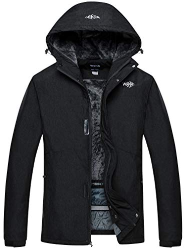 Wantdo Men's Waterproof Snow Jacket Cotton Padded Winter Ski Raincoat Black S