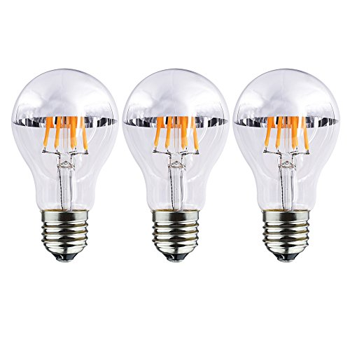 Bulbright Half Chrome LED Filament Bulb A19 8W LED Light Bulb, Silver Bowl Tipped, E26 Base, Soft Warm White 2700K, 70W Equivalent, 110-120VAC, Dimmable (Pack of 3, 8 Watt)