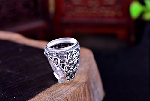 Filigree Ring Setting - Adjustable Thai Sterling Silver Men's Ring Blank Filigree Cabochon Ring Setting (13x18mm Oval Blank) R150B