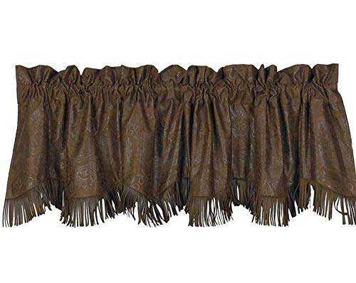 - Cowgirl Kim Chocolate Tooled Faux Leather Valance with Fringe