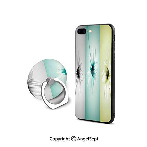 Protector for iPhone 7/8 with 360°Degree Swivel Ring,Daisy Flowers in Different Featured Framed Saturated Artsy Image,Ultra Thin Slim Cover Case,Turquoise Grey Avocado Green ()